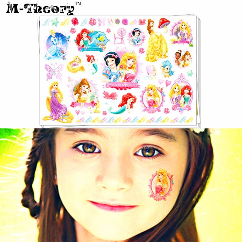 Girls Favorites Tattoo Stickers Water Transfer Body Art Waterproof 3-5 Days 100% Safe Princess Designs