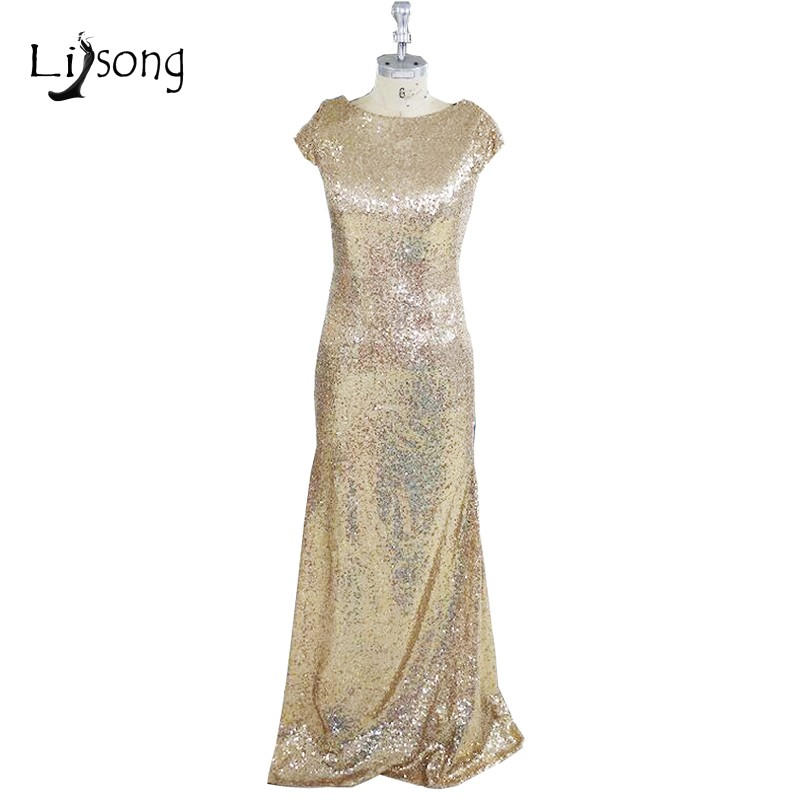 Gorgeous Champagne Sequined Long Bridesmaid Dress Plus Sizes Formal ...