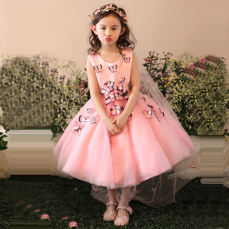 Luxury Appliques Flower Princess Dress Girls Holy Communion Dress Kids Pageant Dresses For Birthday Wedding Party Ball Gown D161 luxury blue appliques girls pageant dresses ball gown children birthday wedding party dress teenage princess gown custom made