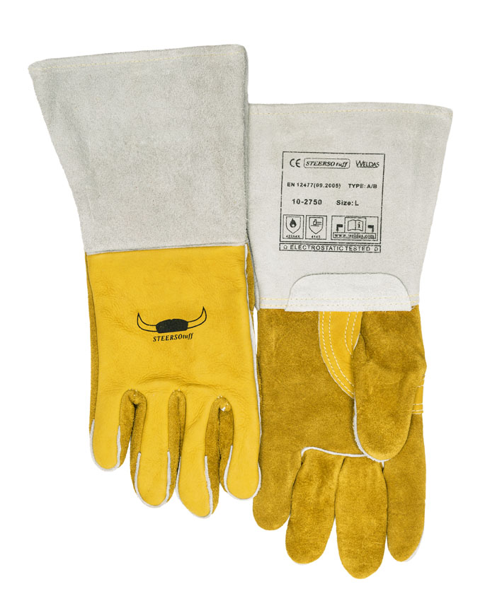 <font><b>250</b></font> Centigrade 482F Wing Thumb Red Ram Cow Leather Mig <font><b>Tig</b></font> Welder Gloves Leather Welding Work Gloves image