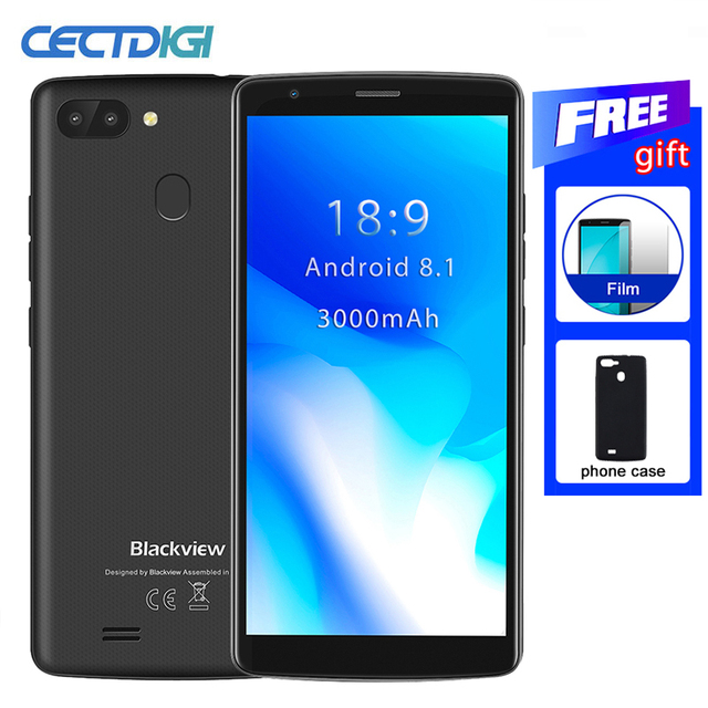 Blackview a20 pro telemóvel android 8.1 mtk6739, quad core 5.5 18:9 hd + 2gb + 16gb dual celular traseira com impressão digital 4g, câmera