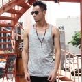 Fitness Tank Top Men Bodybuilding 2017 new summer flower grey men's casual Vest Mens slim vest Cotton SingletsT4180