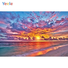 Yeele Colorful Cloud Seaside Sunset Photography Backdrops Wedding For Photo Studio Beach Scenery Custom Photographic Backgrounds