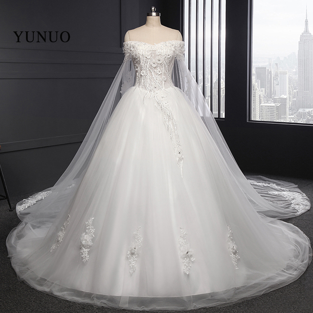 New Wedding Dress Luxury Boat Neck Wedding Bridal Gowns Ball Gown ...