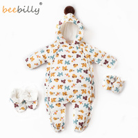 90% Duck Down Thicken Hooded Warm Baby Rompers Kid Boy Jumpsuit Infant Girl Snowsuit Outwear For Winter Children Baby Clothes