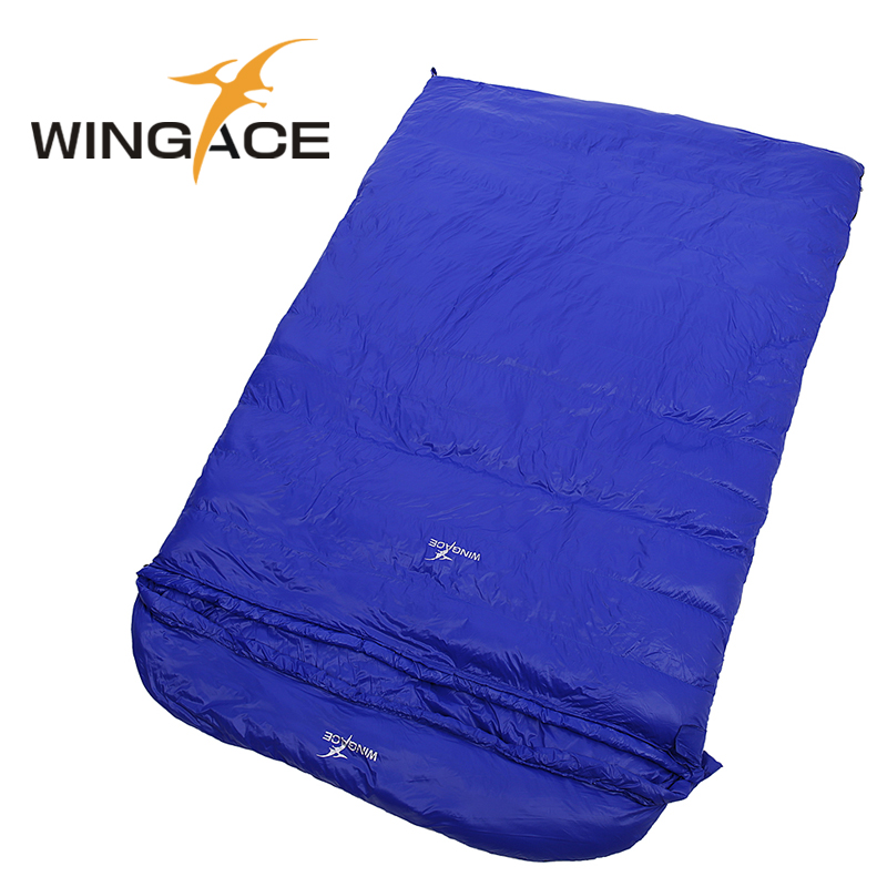 WINGACE 225*130CM Fill 1000G Duck Down Large Sleeping Bags Camping Outdoor Envelope Fall Travel Sleep Adult Double Sleeping Bags creeper 2017 new outdoor sleeping bags cotton warm lazy bags winter tent sleeping bags camping travel adult convinient sleep