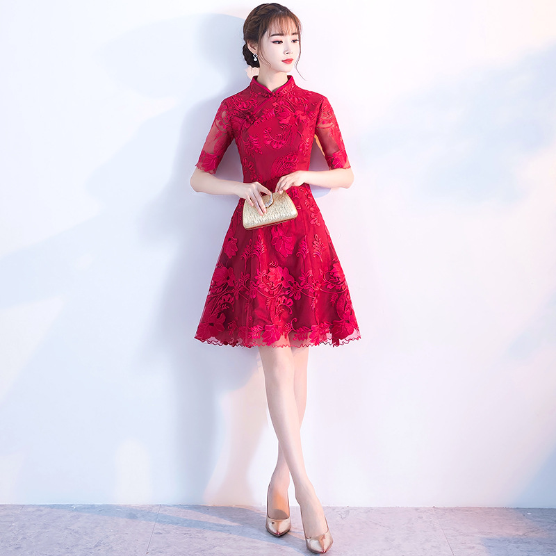 Elegant Women Half Sleeve Improved Qipao Sexy Lace Slim Cheongsam Vestidos Burgundy Traditional Chinese Bride Wedding Dress