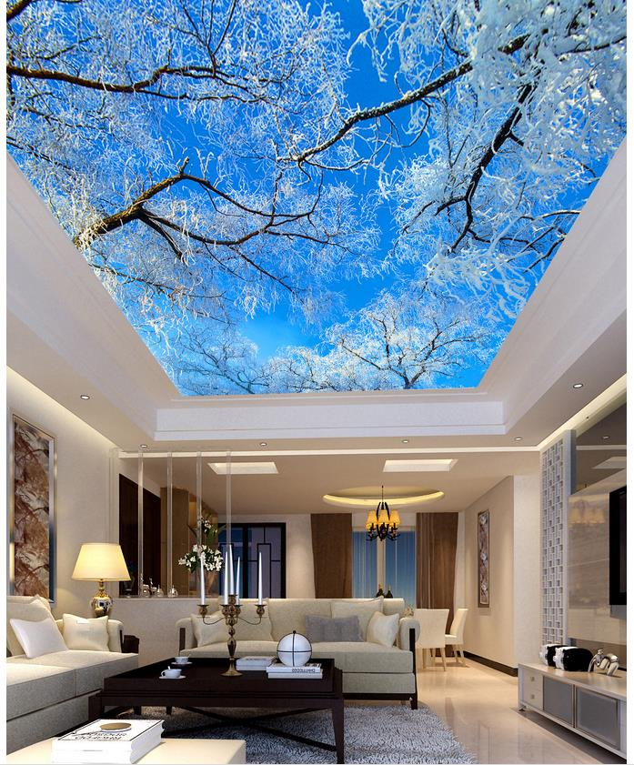 blau sky tree decke wohnzimmer tv hintergrund schlafzimmer 3d fototapete decken 3d wandbilder. Black Bedroom Furniture Sets. Home Design Ideas