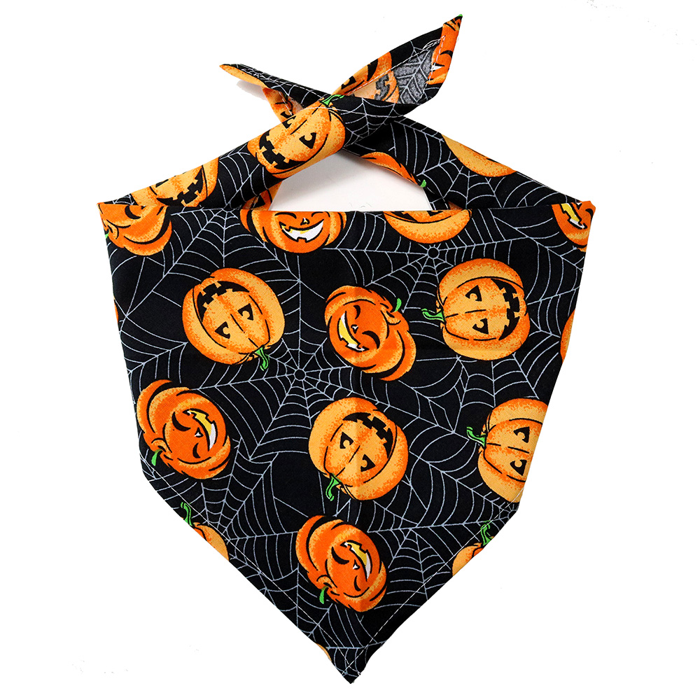 50pcs Pumpkin Dog Bandana Halloween Cotton Adjustable Pet Dogs Scarf Bandanas Pet Colallar Bowties Pet Shop