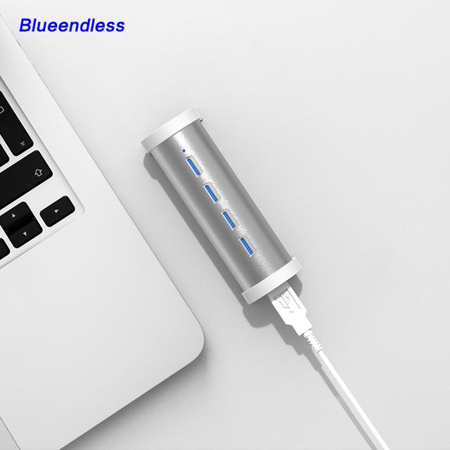 BlUEENDLESS BL-H4U3 Cilindro DE ALUMÍNIO Design HUB USB 3.0 com 4 portas USB Cabo-Prata