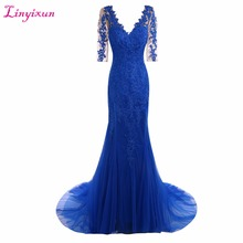 Linyixun Real Photo New Royal Blue 2017 Mother of the Bride Dresses Appliques Lace Elegant Half Sleeve Chiffon Evening Dresses