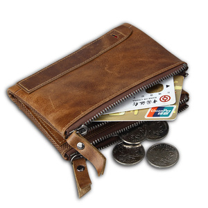 Image 4 - RFID Protected Free Engraving Genuine Leather Men Wallet Card Holders Wallets Double Zippers Coin Wallet Men Leather Short Purse