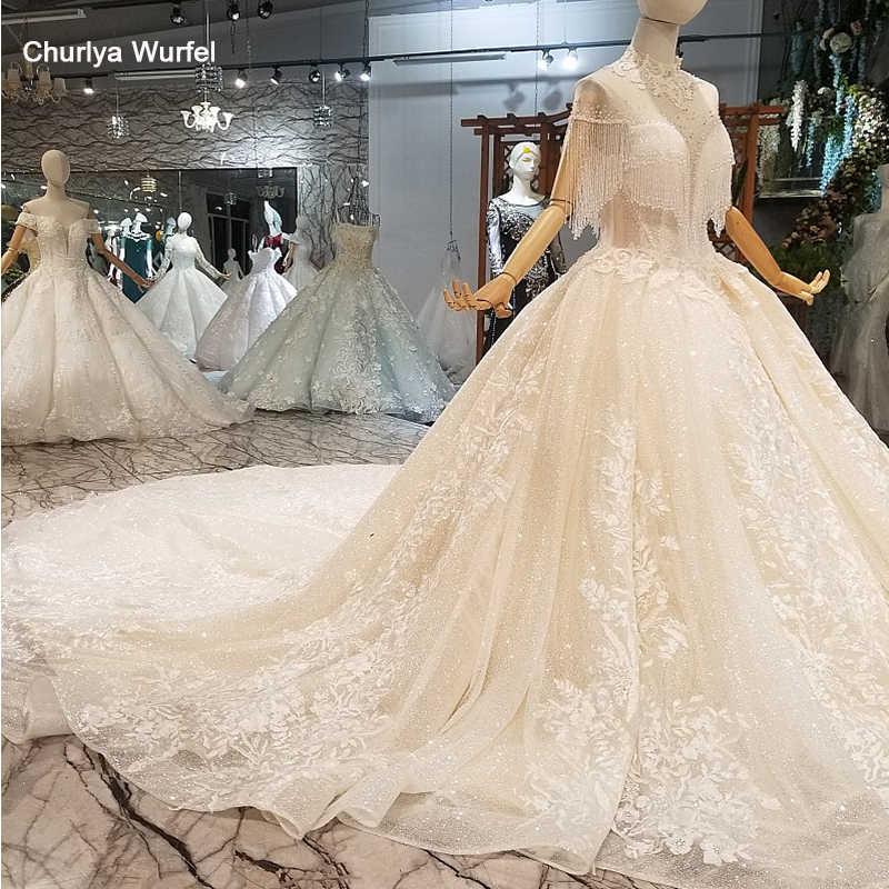 LS41101 шампанское блестящие свадебные платья украшают высокие шейные хрустальные короткими рукавами без бретелек свадебное свадебное платье с длинным поездом