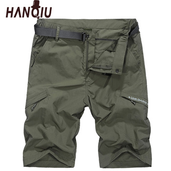 HANQIU Waterproof Military Cargo Shorts Men Summer Quick Dry Loose Male Short Pants Thin Material Male Short Masculino WIth Belt