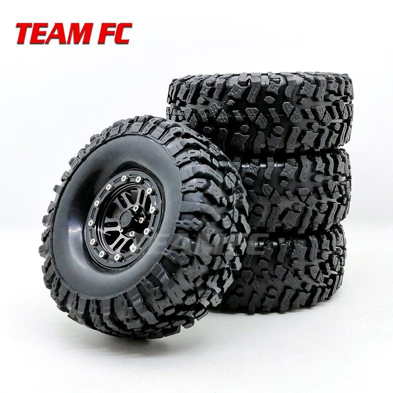 4PCS 108MM/120mm Rubber Tires & Metal Beadlock Wheel Rims For 1:10 RC Rock Crawler Axial SCX10 90046 TRX-4 S289