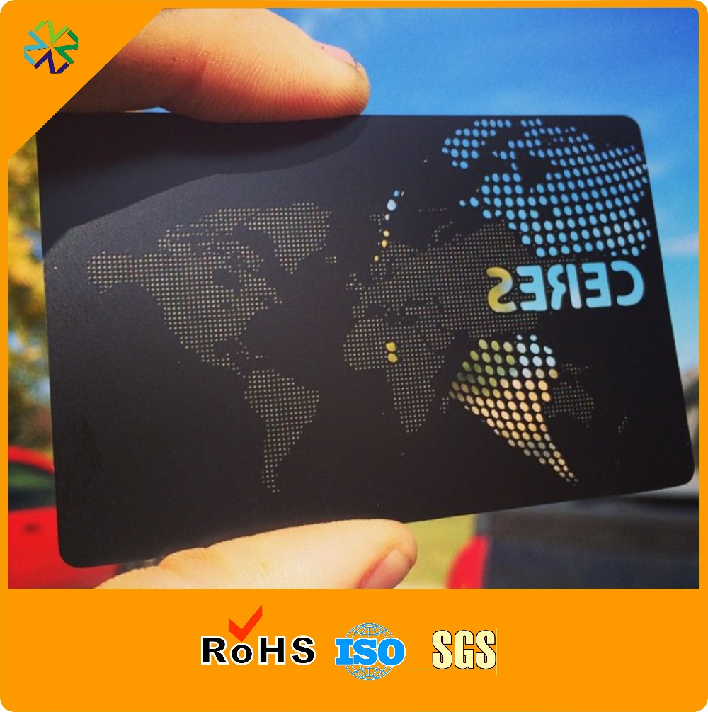 100pcs/lot Matte Black Metal Business Card With White Color Printing And Cutting Through Craft