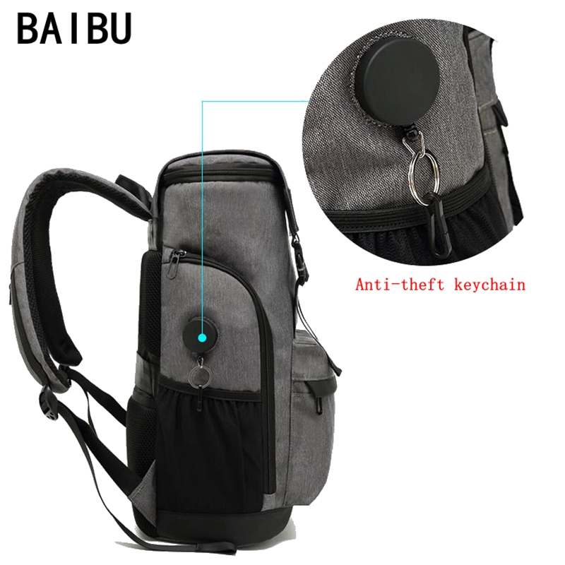 все цены на BAIBU Men Anti-theft Waterproof Backpack USB Charging 15.6 inch Laptop Backpack Student men School Bags For Teenagers Travel Bag