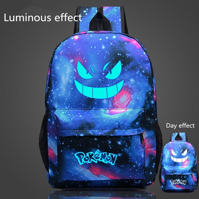 2016 venda quente famoso pokemon ir mochila pokemon gengar mochilas escolares sacos para meninas adolescentes