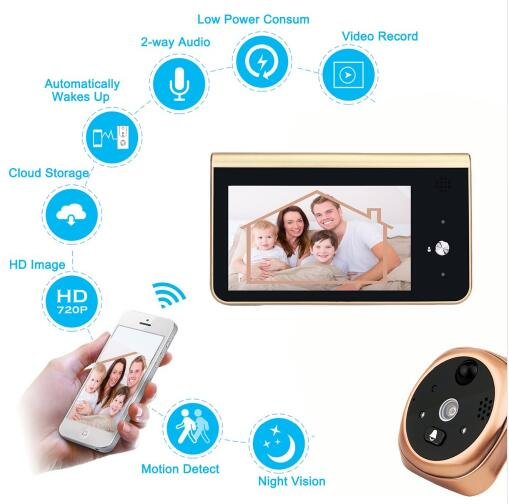 4.3'monitoring with PIR motion detection 720P HD cameras Wifi Smart Peephole Video Doorbell APP control for Android IOS doorbell image