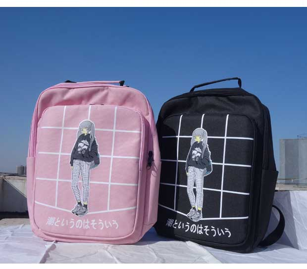 Female New Fashion Plaid Printed Bag Women Canvas Backpack School For Teenager Girls Vintage Backpack Casual Shoulder Bag Grid miyahouse preppy style canvas school backpack for teenager girls cute unicorn printed school bag female travel bag