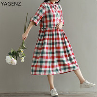YAGENZ Large Size Women Dress Summer Women New Style Cotton Linen Dress 2017 Hot Sale Large