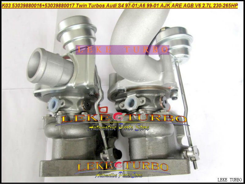 K03 53039880016+53039880017 Twin Turbos Turbocharger For AUDI S4 97-01 A6 99-01 AJK ARE AZB AGB V6 2.7L 265HP (1)