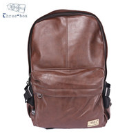 PU Leather Vintage Backpack Men School Sport Male Black Day Back Pack Brown Fashion Leisure 2014