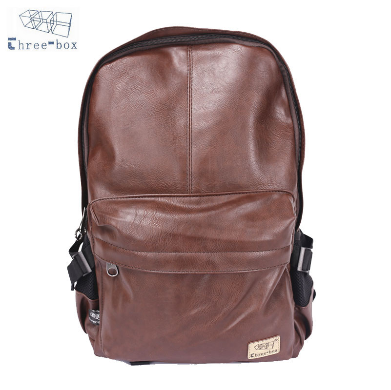 Three Box Brand Men Women PU Leather Vintage Backpack Leisure Teenagers Male School Day Rucksack Shoulder