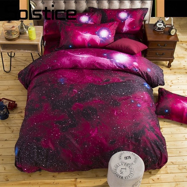 Solstice Home Textile Red Universe Duvet Quilt Cover Pillowcase Flat Bed Sheet Plant Space Bedding Sets Kid Teen Girl Boy Linens