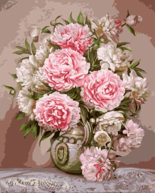 digital Pink peony vase diy oil painting by numbers wall home decoration paint unique gift flower craft artwork picture