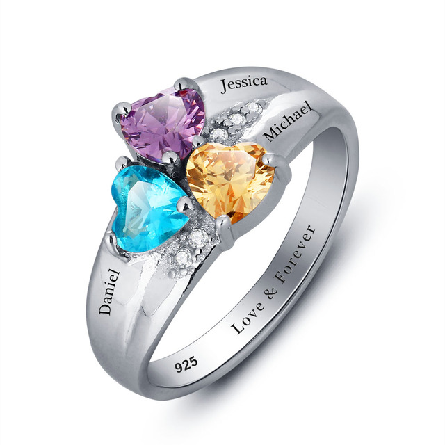 Mothers Rings Personalized Birthstone Family Ring 925 Sterling Silver Cubic Zirconia DIY Names Ring Valentine's Day Gift