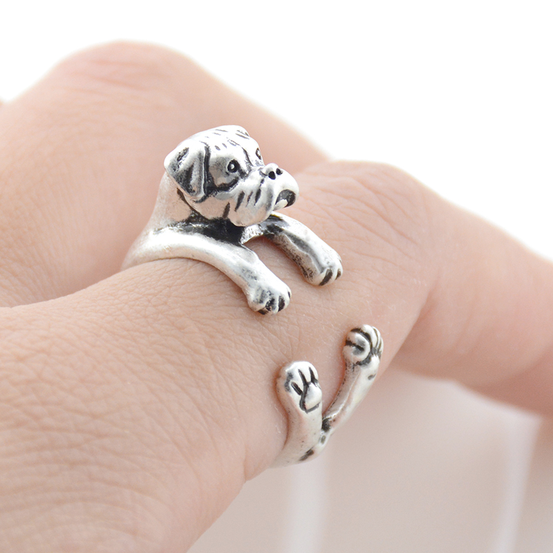 1 Piece Vintage Boho Cute Dog Anel Ring Punk Brass Knuckle Boxer Anillos Couple Love Rings