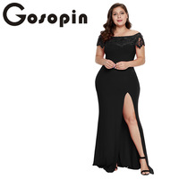 Gosopin Off Shoulder Sexy Party Dress Plus Size Summer Slit Black Lace Maxi Dress Elegant Prom Women Long Dressvestidos LC611062