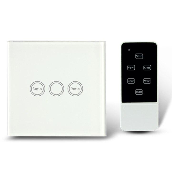Interrupteur de minuterie de lumière à télécommande de Type ue, RF 433 Mhz, commutateur mural de retard de temps d'écran tactile de maison intelligente 1 voie - 2