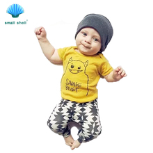 small shell Kid Boys Clothing Sets(Shirt+Shorts)2016 Summer Kids Clothes for Boys casual fashion Monster printed Baby Suit F0017