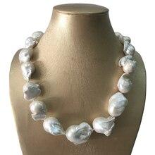 100% natura słodkowodna duży barokowy naszyjnik z pereł 50 cm 80 cm, wysokiej jakości 16 24mm naturalny biały biały perłowy, 925 srebrna zapinka