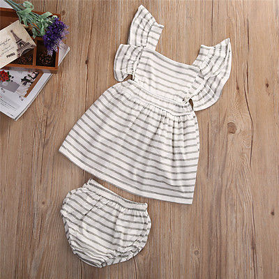 2pcsNewborn-Baby-Girl-Dress-Infant-Striped-Fly-Sleeve-Bowknot-DressShorts-Bottom-Clothes-Outfit-4