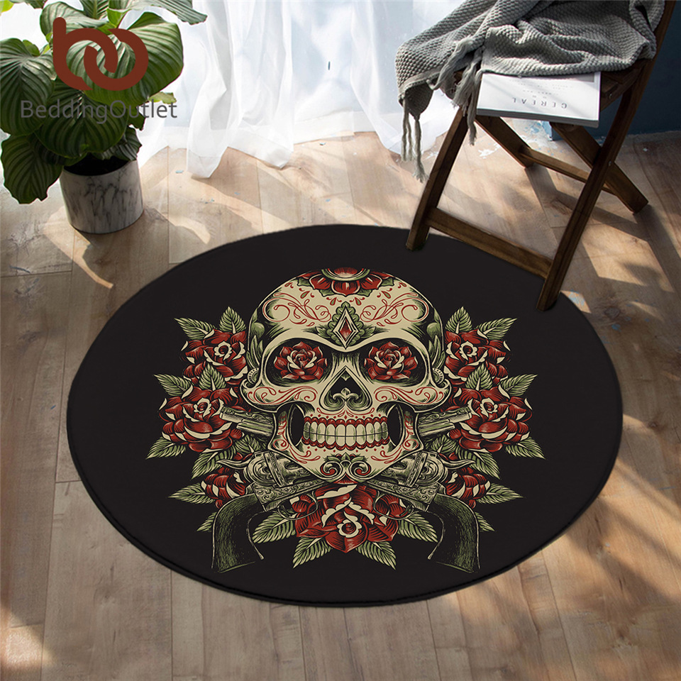 BeddingOutlet Floral Skull Area Rugs For Bedroom Sugar Skull Round Carpet Black White Floor Mat Flowers Gothic Yoga Mat 150cm