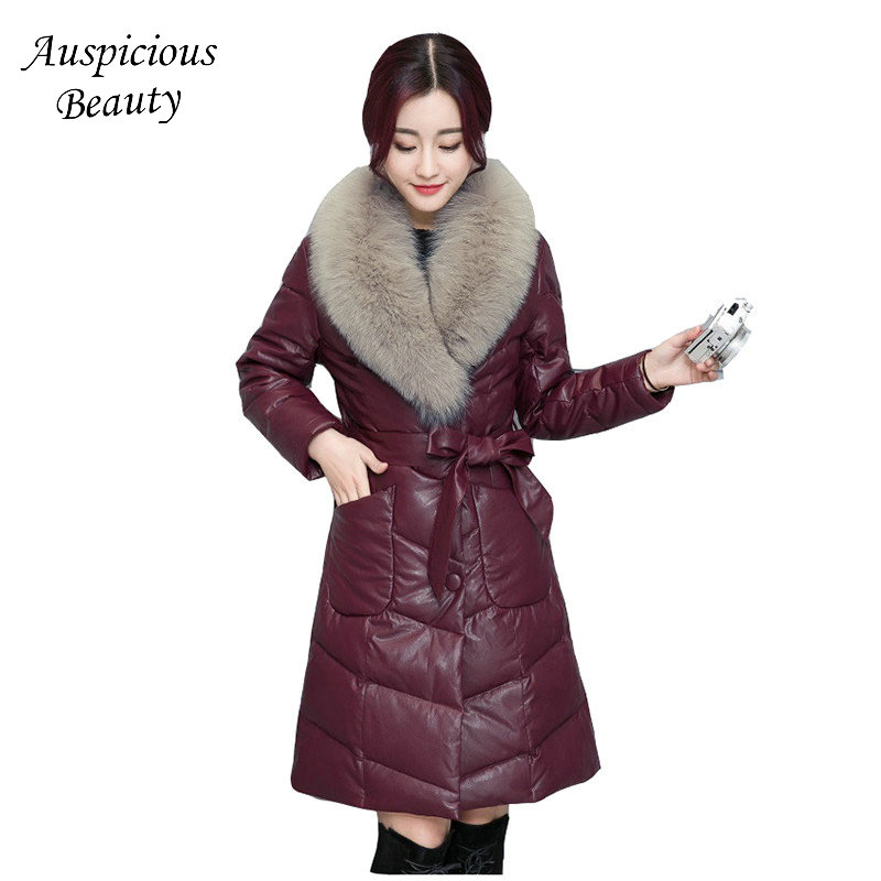 Winter New Arrival Women Leather Coat Warm Down Cotton Outerwear Long Large Dimension Slim Thickening leather Jacket Coat CXM283