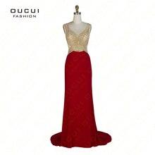 72fbd18eb2796 Real Resimleri Tül jersey Kristal Backless Kırmızı Renk Parti Amaçlar Örgün  Uzun Balo Elbise Düğün Parti