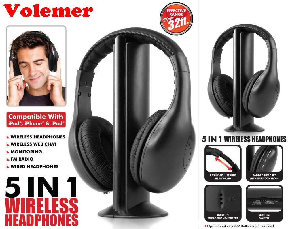 Volemer Multifunction 5 in 1 FM Wireless Headset Earphone for MP4 PC TV CD MP3 Black with FM raido headphone headphones 2016 wireless headphones headset mh2001 mp3 mp4 pc cd dvd audio tv fm radio earphones