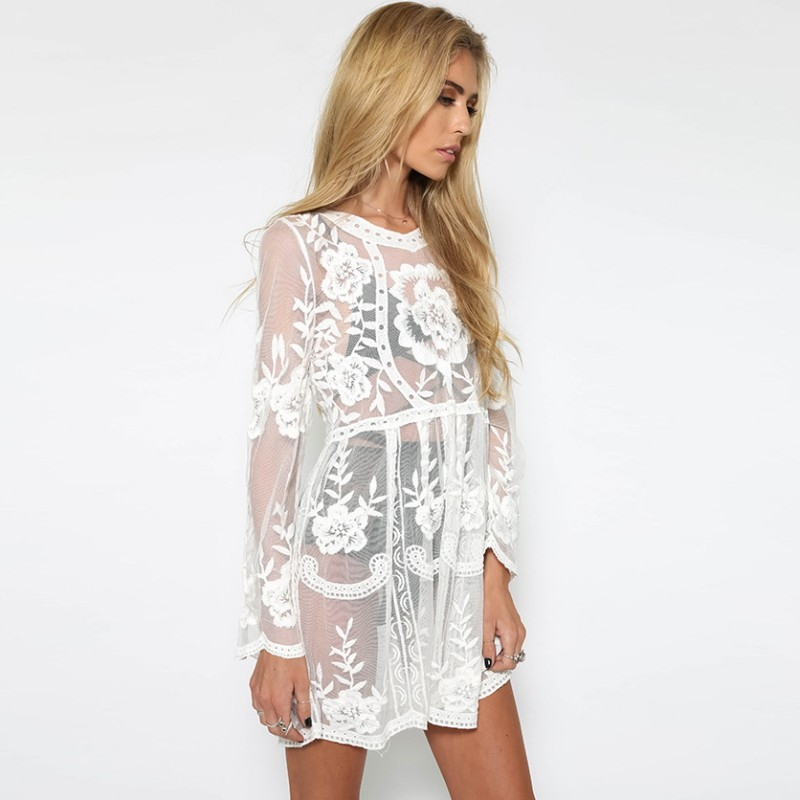 Sexy Hollow Out long sleeve elegant dresses White Black Lace Dress vestidos wholesale