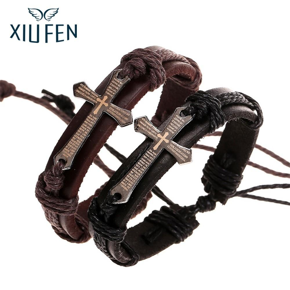 XIUFEN Bracelets Men Retro Cross Braided Cowhide Chain Link Bracelets Christmas Gifts Adjustable Size Christmas Gifts ZK30