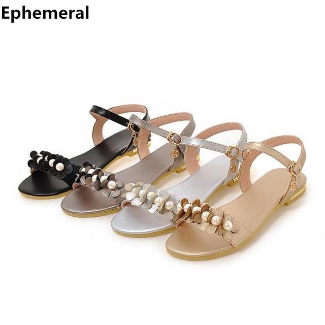 5647eb974448 Women anti-slip shoes with flower crystal summer sandals for ladies flat  flip flops open toe buckle strap plus size 12 sandalias