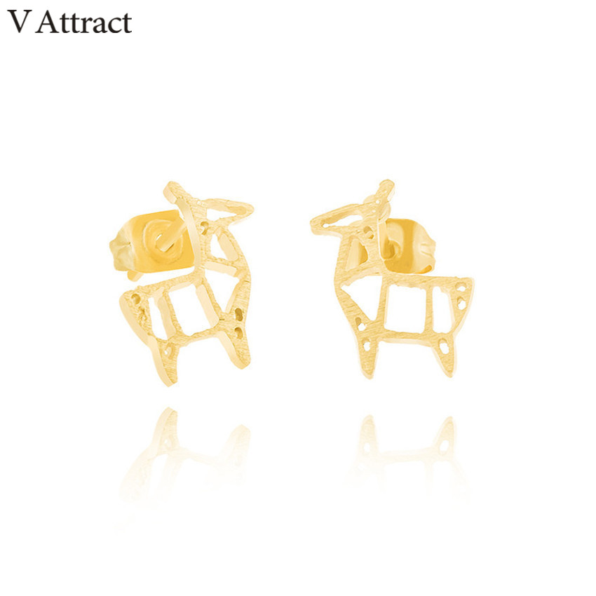 V Attract Stainless Steel Bijoux Cute Origami Deer Stud Earring 2018 Animal Jewelry Rose Gold Boucles D'oreilles Graduate Gift image