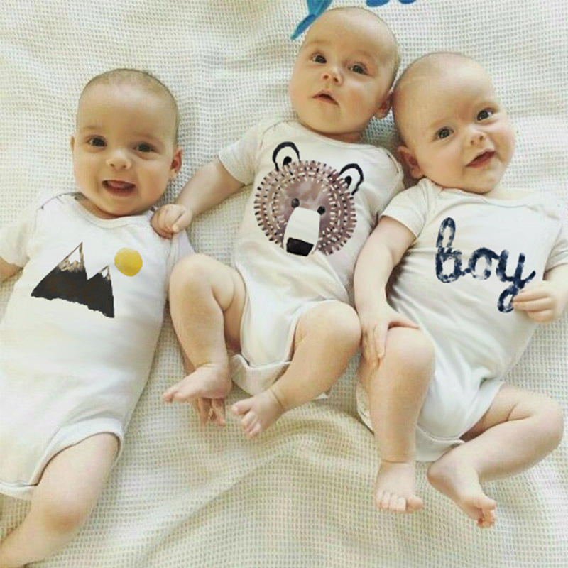 fashion 2018 summer clothes for baby boys clothing 3 pcs climbing baby bodysuits 100% cotton Pajamas white infant-accessories