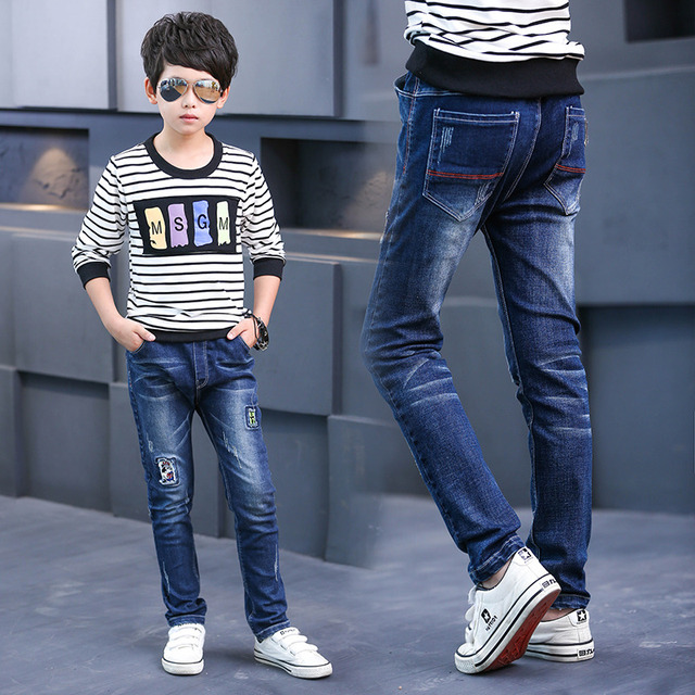 2017 Newest Spring and Autumn Children's Jeans Trousers Kids Baby Mickey Stitching Pants Boy's Casual Jeans Denim Jeans