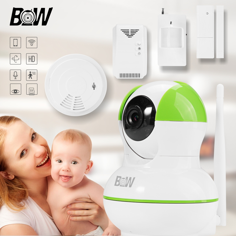 BW12GR Home WiFi Security IP Camera Wireless Baby Monitor With Door/Infrared Motion Sensor and Smoke/Gas Detector bw wireless wifi door