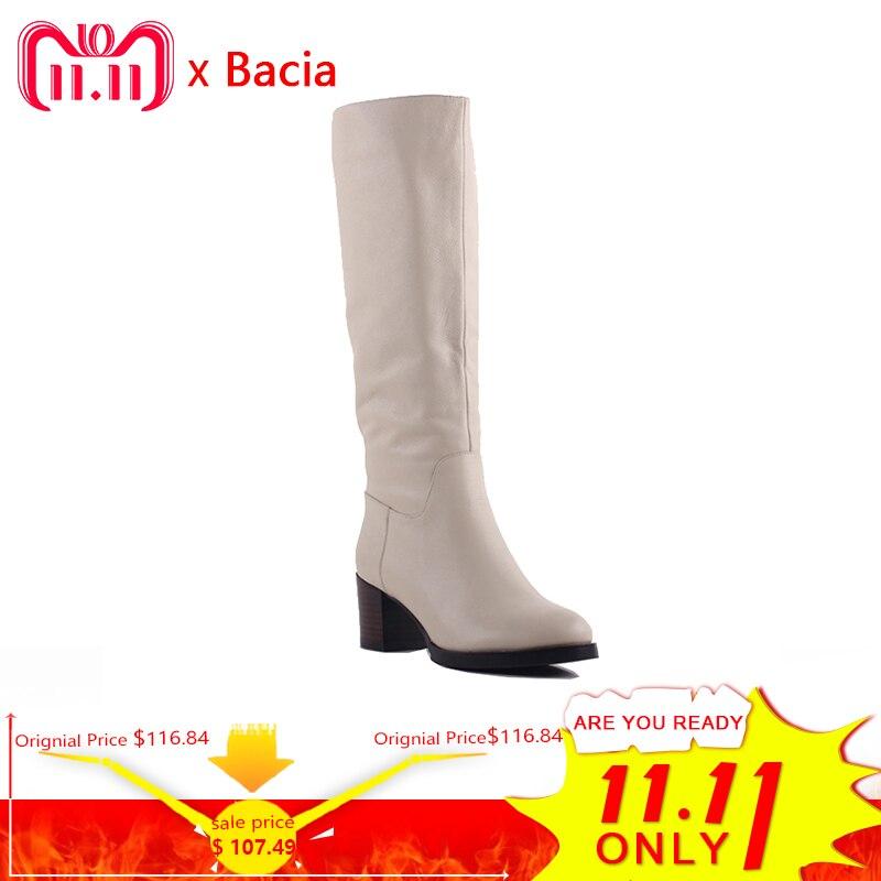 Bacia 100% piel auténtica clásica Mujer Botas de piel de vaca auténtica Botas de nieve de cuero zapatos de invierno para Mujer Botas ligeras de albaricoque SA077