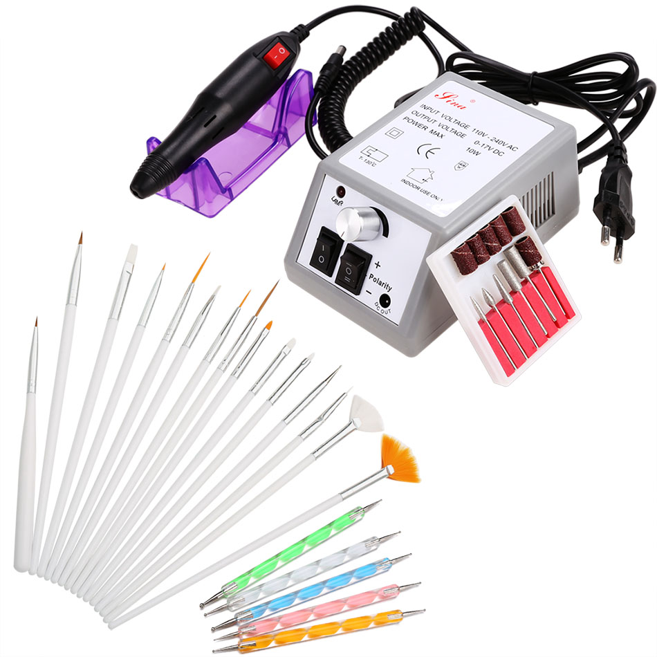 ФОТО 1set 6bits 15,000rpm Electric Manicure Machine  + 5PCS Dotting Pen + 15PCS Brush Set Nail Care ProductUS/UK/EU Plug $k